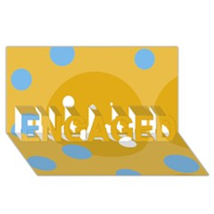 Blue and yellow moon ENGAGED 3D Greeting Card (8x4)