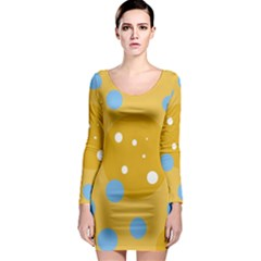 Blue and yellow moon Long Sleeve Bodycon Dress