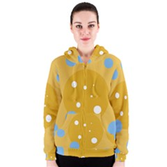 Blue and yellow moon Women s Zipper Hoodie
