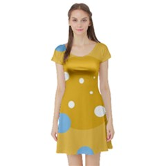 Blue and yellow moon Short Sleeve Skater Dress