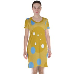 Blue and yellow moon Short Sleeve Nightdress