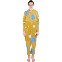 Blue and yellow moon Hooded Jumpsuit (Ladies)