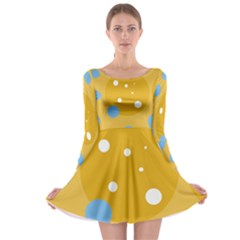 Blue and yellow moon Long Sleeve Skater Dress