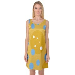 Blue and yellow moon Sleeveless Satin Nightdress