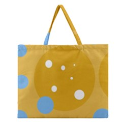 Blue and yellow moon Zipper Large Tote Bag