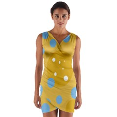 Blue And Yellow Moon Wrap Front Bodycon Dress