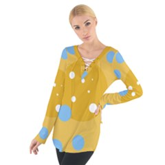 Blue and yellow moon Women s Tie Up Tee