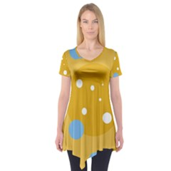 Blue And Yellow Moon Short Sleeve Tunic
