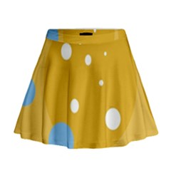 Blue and yellow moon Mini Flare Skirt