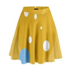 Blue And Yellow Moon High Waist Skirt