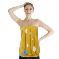Blue And Yellow Moon Strapless Top