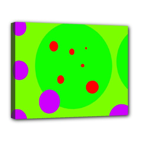 Green and purple dots Canvas 14  x 11