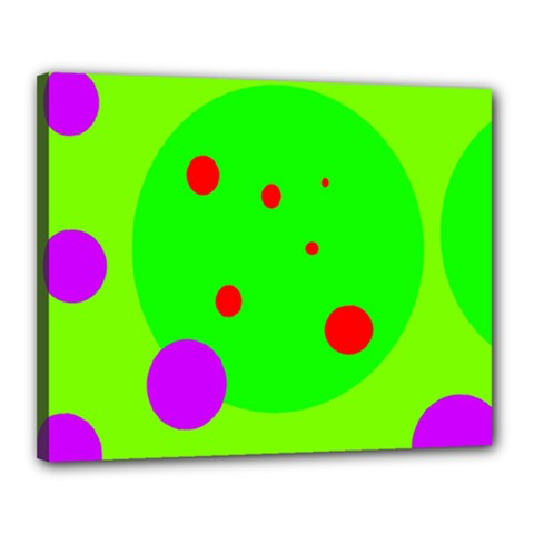 Green and purple dots Canvas 20  x 16