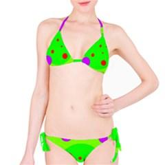 Green and purple dots Bikini Set