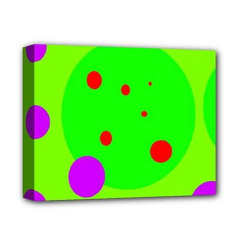 Green and purple dots Deluxe Canvas 14  x 11