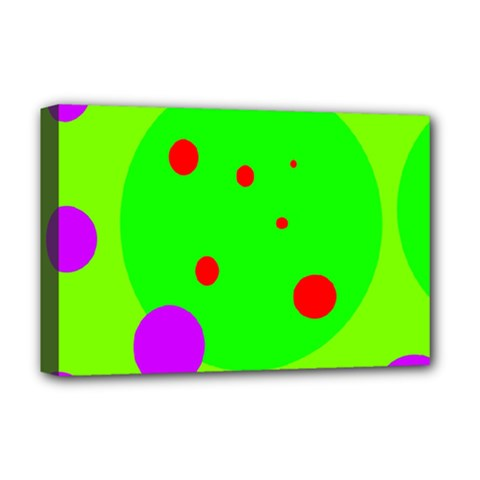 Green and purple dots Deluxe Canvas 18  x 12