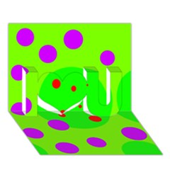 Green and purple dots I Love You 3D Greeting Card (7x5)