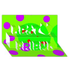 Green and purple dots Best Friends 3D Greeting Card (8x4)