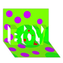 Green and purple dots BOY 3D Greeting Card (7x5)