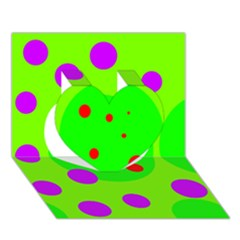 Green and purple dots Heart 3D Greeting Card (7x5)