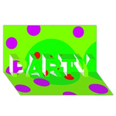 Green and purple dots PARTY 3D Greeting Card (8x4)