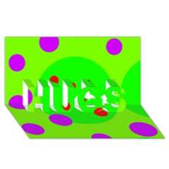 Green and purple dots HUGS 3D Greeting Card (8x4)