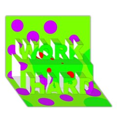 Green and purple dots WORK HARD 3D Greeting Card (7x5)