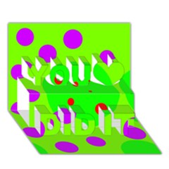 Green and purple dots You Did It 3D Greeting Card (7x5)