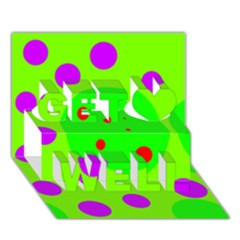 Green and purple dots Get Well 3D Greeting Card (7x5)