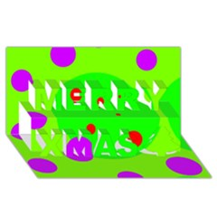 Green and purple dots Merry Xmas 3D Greeting Card (8x4)