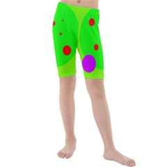 Green and purple dots Kid s Mid Length Swim Shorts
