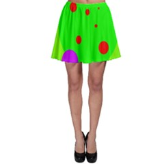 Green and purple dots Skater Skirt