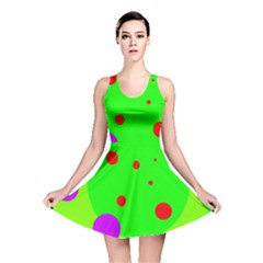Green and purple dots Reversible Skater Dress