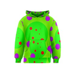 Green and purple dots Kids  Pullover Hoodie