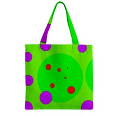 Green And Purple Dots Zipper Grocery Tote Bag