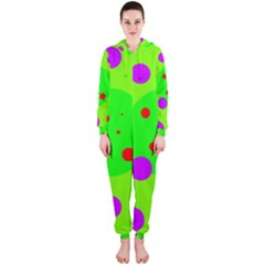 Green and purple dots Hooded Jumpsuit (Ladies)