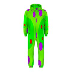 Green and purple dots Hooded Jumpsuit (Kids)