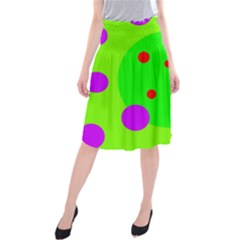 Green and purple dots Midi Beach Skirt