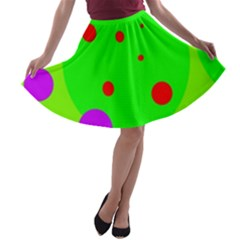 Green and purple dots A-line Skater Skirt