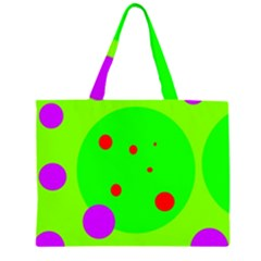 Green and purple dots Zipper Large Tote Bag