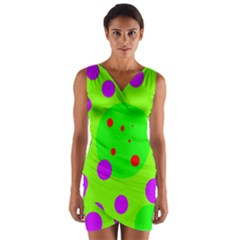 Green And Purple Dots Wrap Front Bodycon Dress