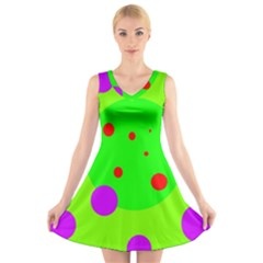 Green And Purple Dots V Neck Sleeveless Skater Dress
