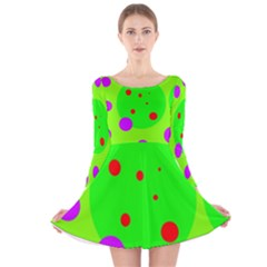 Green And Purple Dots Long Sleeve Velvet Skater Dress