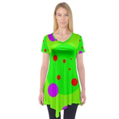 Green and purple dots Short Sleeve Tunic