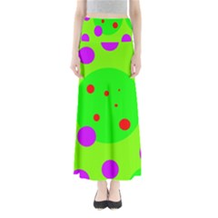 Green and purple dots Maxi Skirts