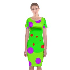 Green and purple dots Classic Short Sleeve Midi Dress