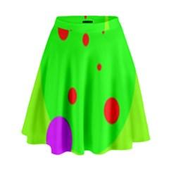 Green And Purple Dots High Waist Skirt