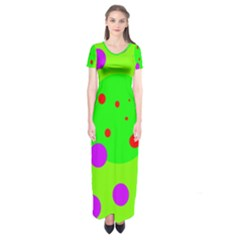 Green and purple dots Short Sleeve Maxi Dress