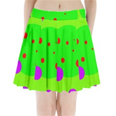 Green and purple dots Pleated Mini Mesh Skirt