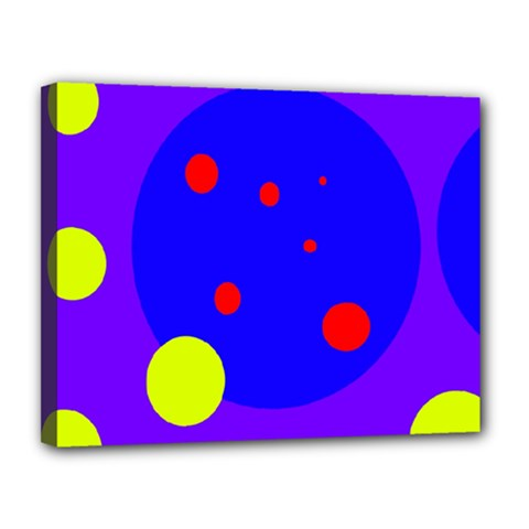 Purple and yellow dots Canvas 14  x 11